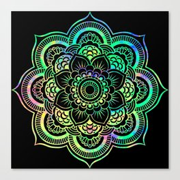 Neon Psychedelic Mandala Canvas Print