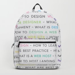 Colored Web Design Keywords Poster Backpack