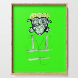 Gas Mask with flowers and Yellowvest Serving Tray