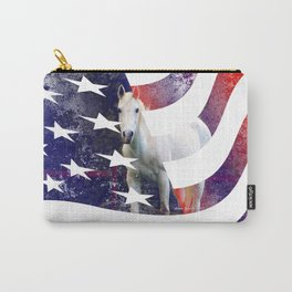 White Horse And American Flag By Annie Zeno Carry-All Pouch