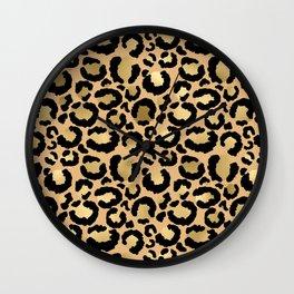 Animal print - natural gold Wall Clock
