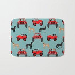 Great Dane jeep car dog breed pattern custom pet portrait Bath Mat
