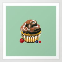 Chocolate Glaze Cupcake Art Print