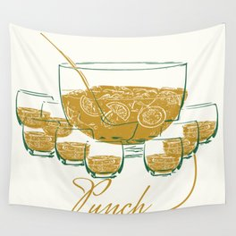 Christmast of my childhood - Line Art - Hand Drawn - Punch Bowl Wall Tapestry