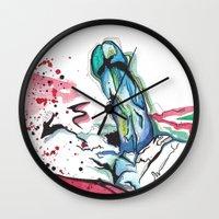 randy c Wall Clocks featuring Randy by M.GrondinArt