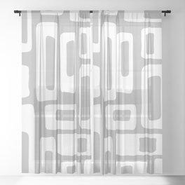 Retro Mid Century Modern Abstract Pattern 335 Gray Sheer Curtain