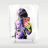 selfie Shower Curtains featuring Selfie by LORCA store