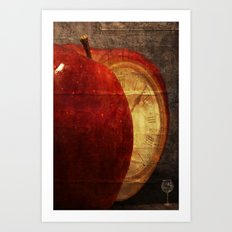 Mysterious relationship of apple and time Art Print