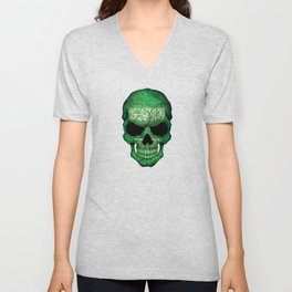 Dark Skull with Flag of Saudi Arabia Unisex V-Neck