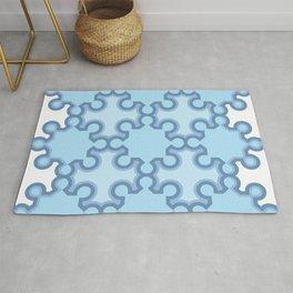 Abstract geometric pattern blue ocean shades Rug