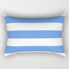 United Nations blue - solid color - white stripes pattern Rectangular Pillow