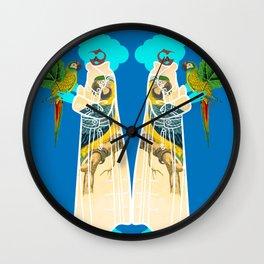 Bird Coat Blue Wall Clock