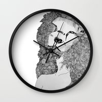 lions Wall Clocks featuring Lions by Zora Chen