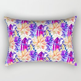 Hand painted orange purple navy blue watercolor cactus floral Rectangular Pillow