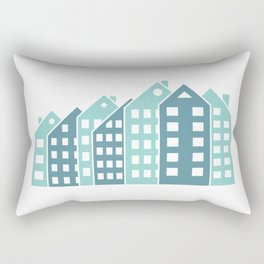 Abstract colorful multistory buildings. Rectangular Pillow