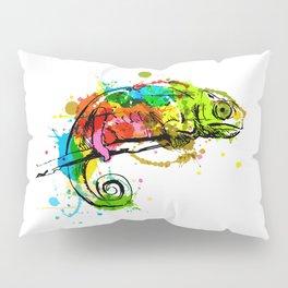 Colored hand sketch chameleon Pillow Sham