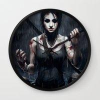 tomb raider Wall Clocks featuring Tomb Raider by Max Grecke