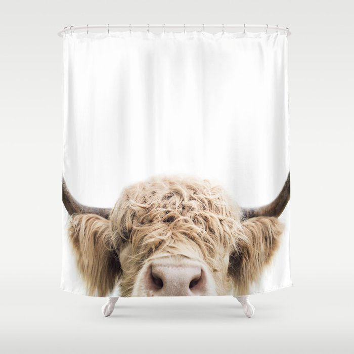 Peeking Highland Cow Shower Curtain