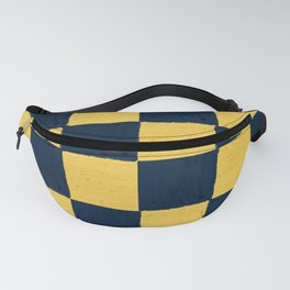 Gold and dark blue checks soft pastel Fanny Pack