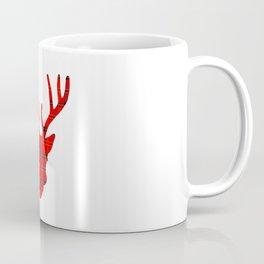 Plaid Deer Head: Red Coffee Mug