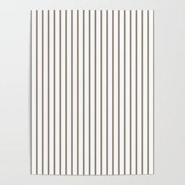 Mulch Brown Pinstripe on White Poster
