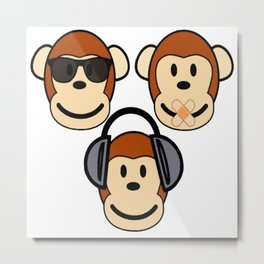 Illustration of Cartoon Three Monkeys - See, Hear, Speak No Evil Metal Print