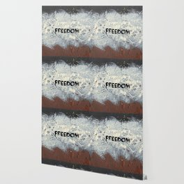 Freedom Pollock Rothko Inspired Black White Red - Modern Wallpaper