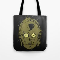 c3po Tote Bags featuring C3PO by Peyeyo