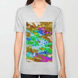 psychedelic splash painting abstract texture in brown green blue pink Unisex V-Neck