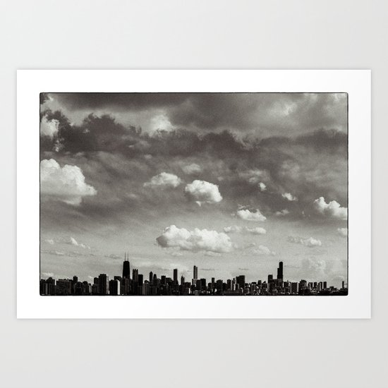Chicago Skyline - Lone Cloud Art Print