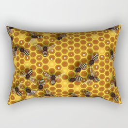 Honeycomb bee background illustration seamless pattern Rectangular Pillow