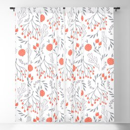Red Berry Floral Blackout Curtain