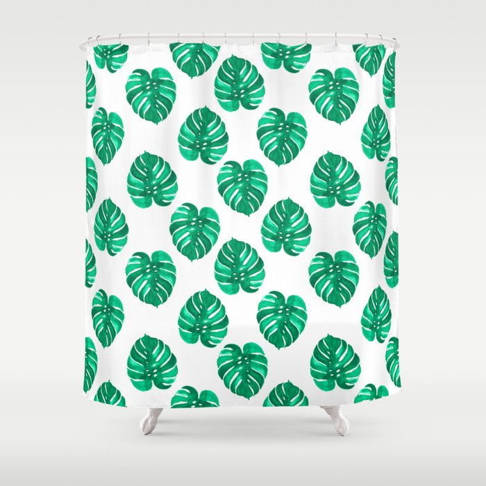 Charming Monstera House Plant Leaf Green Painting Pattern Trendy Hipster Indoor  House Plant Tropical Garden Shower Curtain