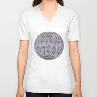 numbers V-neck T-shirts featuring Numbers! white by gasponce