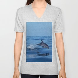 Spotted dolphin jumping in the Atlantic ocean Unisex V-Neck