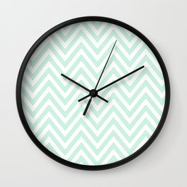 Chevron ZigZag Herringbone pattern - Mint light green I #Society6 Wall Clock