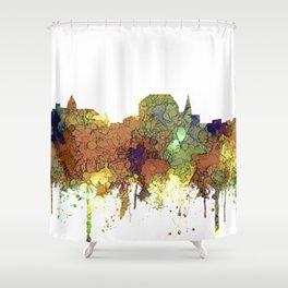 Augusta, Maine Skyline - SG - Safari Buff Shower Curtain