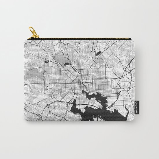 Baltimore Map Gray Carry-All Pouch