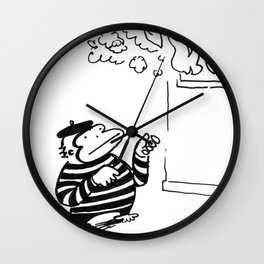 Ape Mime Fights Fire with Imaginary Hose Wall Clock