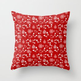 Christmas Cats and Ornaments (Red and White) Throw Pillow
