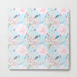 Shabby Chic Bluebirds and Watercolor Roses on pale blue Metal Print