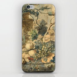 """Jan van Huysum """"Still life with flowers and fruits"""" (drawing) iPhone Skin"""
