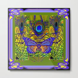 BLUE-PURPLE BUTTERFLY PEACOCK FEATHER PATTERNS Metal Print