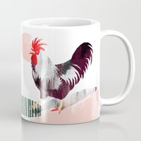 rooster Mugs featuring Rooster by Claudia Voglhuber