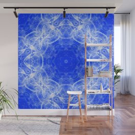 Fractal lace mandala in blue and white Wall Mural