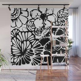 Black & White Floral Zentangle Doodle Design Wall Mural