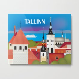 Tallinn, Estonia - Skyline Illustration by Loose Petals Metal Print