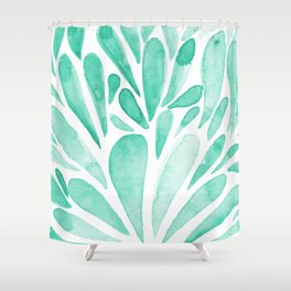 Watercolor artistic drops - aqua Shower Curtain