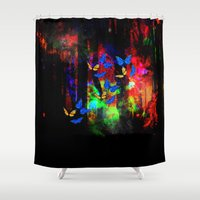 decal Shower Curtains featuring butterfly forest by haroulita
