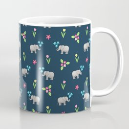 Little Elephants and Spring Flowers on navy, pattern Coffee Mug